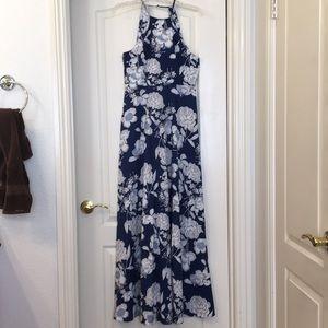 NWOT Navy Floral Halter Maxi Dress